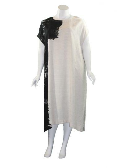 Moyuru Tan/Black Linen Pullover Dress 201426