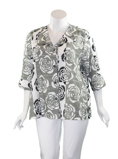 Niche Plus Size Striped Rose Button Front Blouse 1203208