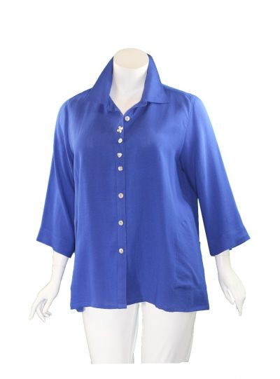 Fridaze Plus Size Sapphire Flower Button Shirt AA268-CL2241