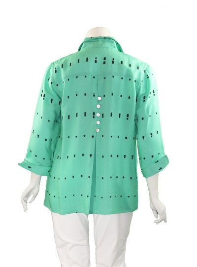 Fridaze Plus Size Green/Black Ikat Eleanor Blouse AA192-CL1147