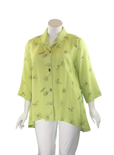 Fridaze Plus Size Lime/Black Floral Gwen Swing Jacket AA329-CL4712