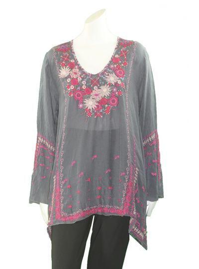 Johnny Was Graphite Wish Stitch Tunic C28718-6