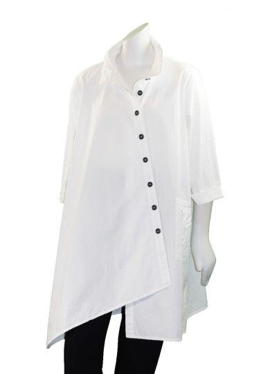Cheyenne Plus Size White Asym Button Shirt JT0971