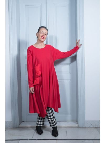 Kedem Sasson Red Bow Pullover Dress KS7215