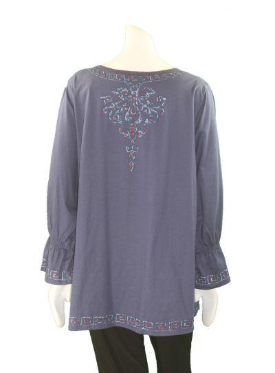 La Blend Plus Size Indigo Embroidered Tee LK0484