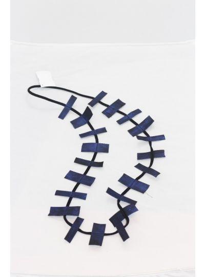 Jianhui Blue Leather Strip Necklace