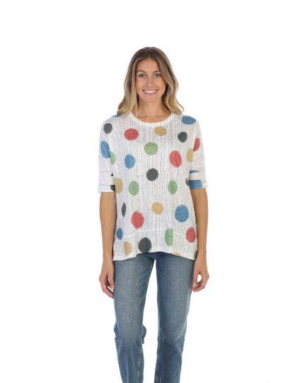 Jess & Jane Plus Size White/Multi Dancing Dots Top LG1-1267X