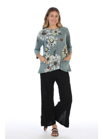 Jess & Jane Plus Size Teal Flor Medley Top M12-1314X