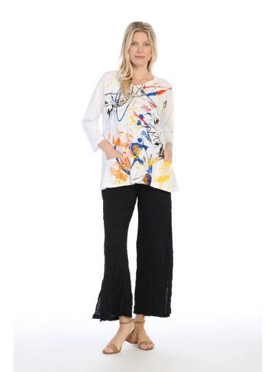 Jess & Jane Plus Size White Coloring Printed Cotton Tunic M12-1349X