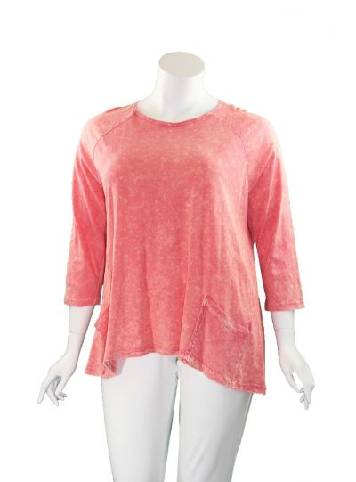 Jess & Jane Plus Size Coral 2 Pocket Basic Tee M12X