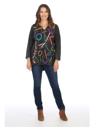 Jess & Jane Plus Size Black Highlight Cotton Tunic M26-1427X