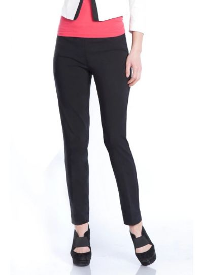 Multiples Plus Size Black Wide Band Pull On Ankle Pant M2623PA