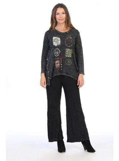 Jess & Jane Plus Size Black Patch Work Cotton Tunic M27-1381X