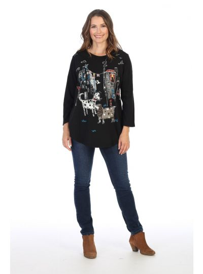 Jess & Jane Plus Size Black City Pups Tunic M28-1436X