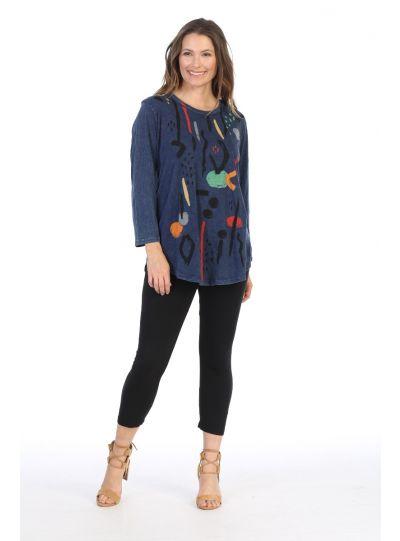 Jess & Jane Plus Size Den Surprise Print Cotton Tunic M28-1411X