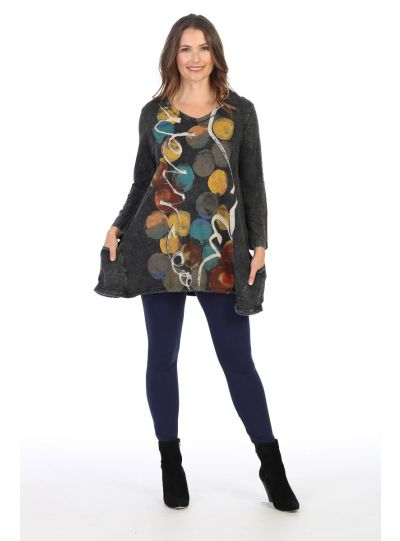 Jess & Jane Plus Size Black Confetti Cotton Tunic M50-1414X