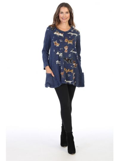 Jess & Jane Plus Size Denim Critters Cotton Shirt M50-1442X
