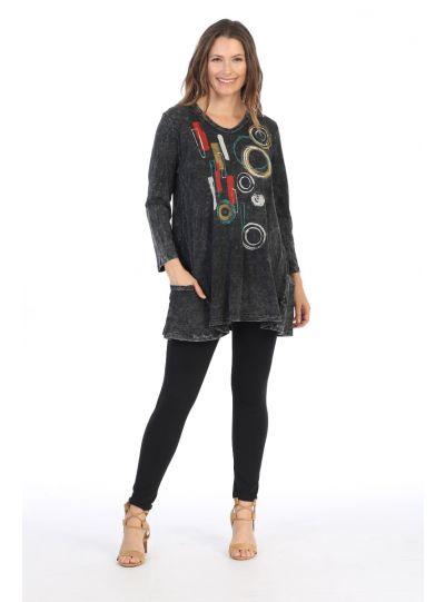 Jess & Jane Plus Size Black Java Mineral Cotton Tunic M50-1390X