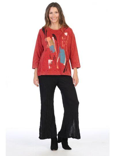 Jess & Jane Plus Size Red Color Sketch Cotton Tunic M51-1386X