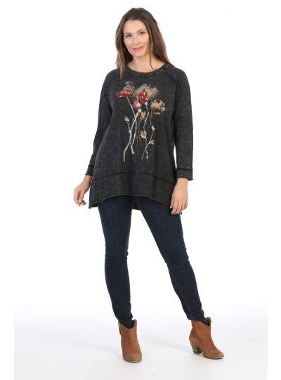 Jess & Jane Plus Size Black Country Posy Cotton Tunic M63-1380X