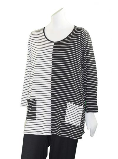 Comfy Plus Size White/Black Striped Eleana Top M887