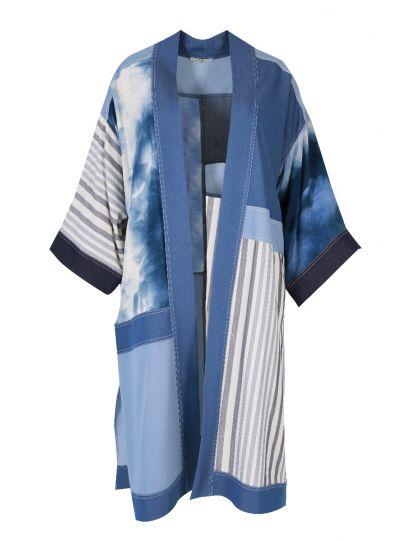 Mat Fashion One Size Denim Open Front Long Jacket 7301.4011