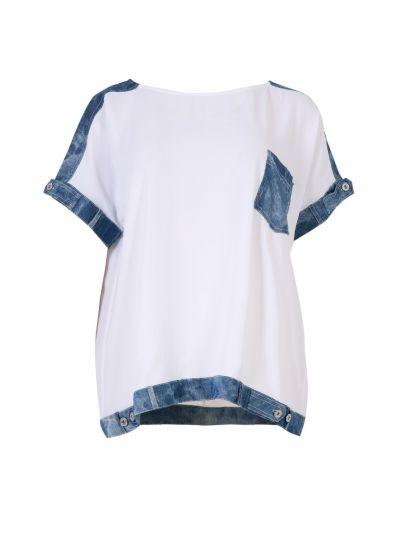Mat Fashion White/Denim Pullover Top 7301.1016