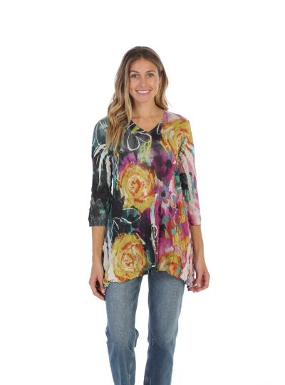 Jess & Jane Plus Size Latte Roses Crushed Tunic MP3-1344X