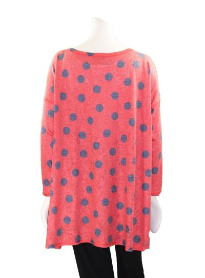 Nally & Millie Plus Size Red Polka Dot Top N285474-B