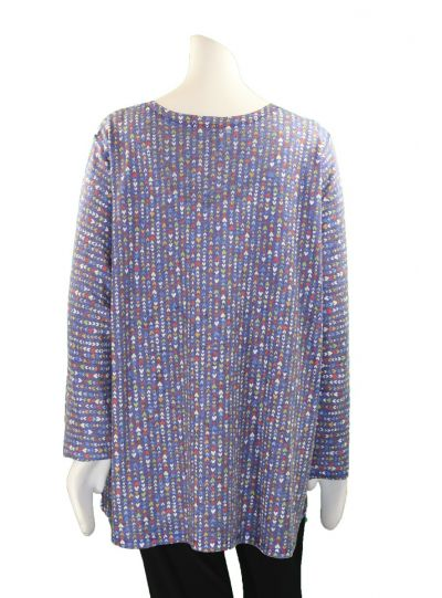 Nally & Millie Plus Size Blue/Multi Hearts Tunic N285994-J