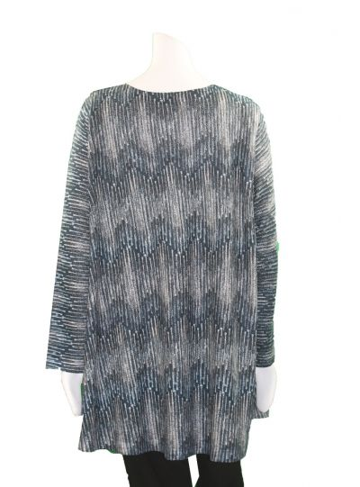 Nally & Millie Plus Size Blue/Olive Zig-Zag Tunic N402574-H