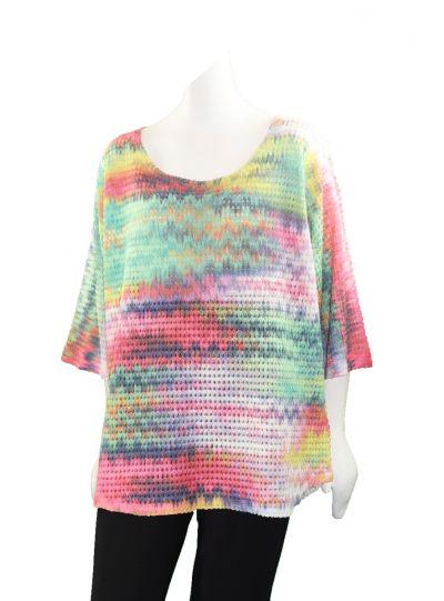 Nally & Millie Plus Size Rainbow Top N495760-C