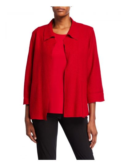 Caroline Rose Red Mid Easy Jacket 26410W