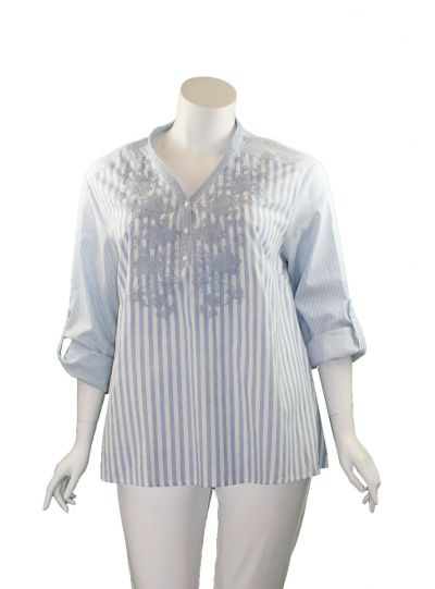 Andree by Unit Plus Size Blue/White Striped Floral Blouse P14375