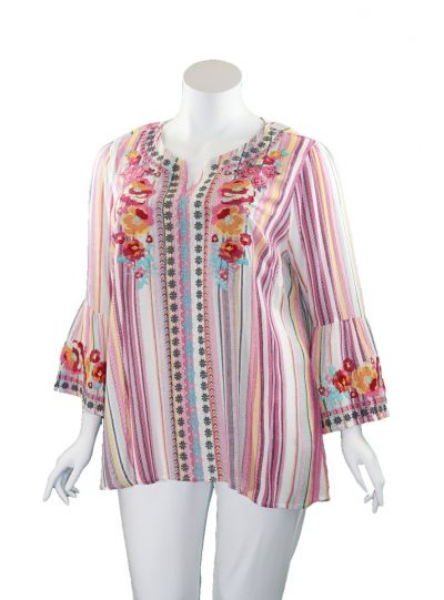 Andree by Unit Plus Size Pink Striped Floral Tunic P14487