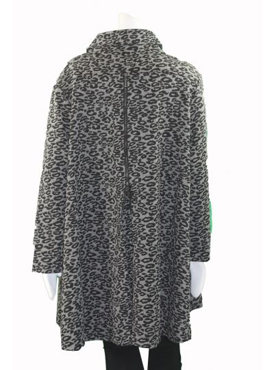 Pleats Plus Size Cheetah Grey Swing Jacket JK17EP