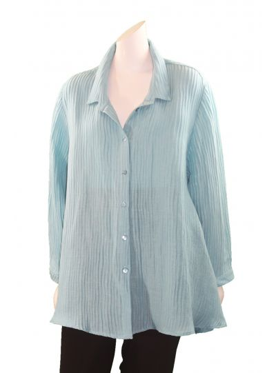 Postcards Plus Size Aqua Ribbed Swing Button Front Shirt RIB36