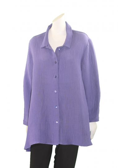 Postcards Plus Size Royal Purple Ribbed Swing Button Front Shirt RIB36