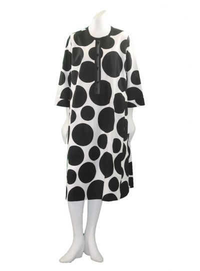 Alembika White/Black Polka Dot Half Button Dress RD208B