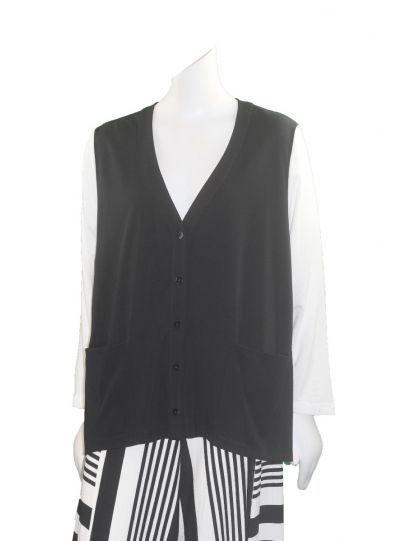 Alembika Black/White 2 Pocket Cardigan RJ100B