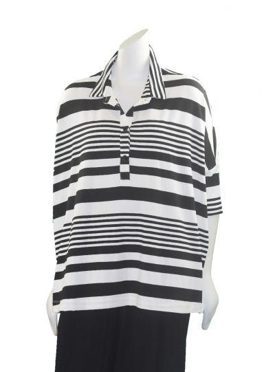 Alembika White/Black Striped Half Button Top RT416BW
