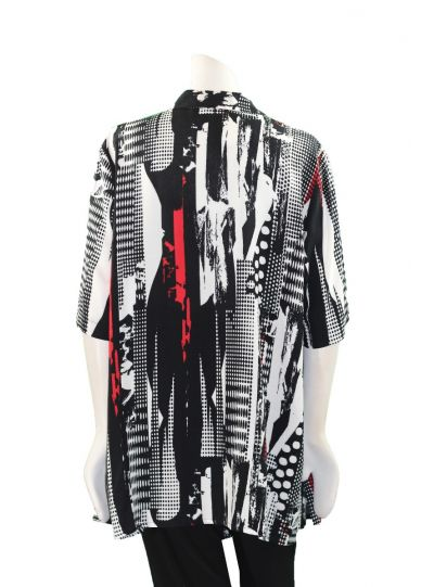 Chalou Plus Size Multi Printed Button Front Blouse S2422