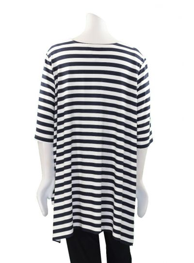 Chalou Plus Size Striped Neckline Tunic S8312