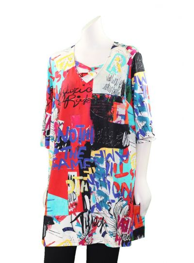 Chalou Plus Size Multi Printed Knot Neckline Tunic S8370