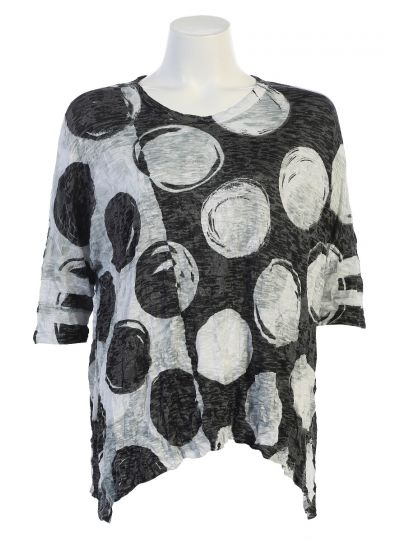 8145a1d3726 Jess & Jane Plus Size Black/White Polka Dot Crinkle Top SB2-1339X