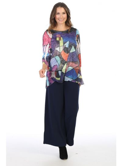 Jess & Jane Plus Size Ivy Moderno Chiffon High/Low Tunic SB4-1430X