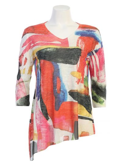 Jess & Jane Plus Size Multi Sangria Top SB7-1432X