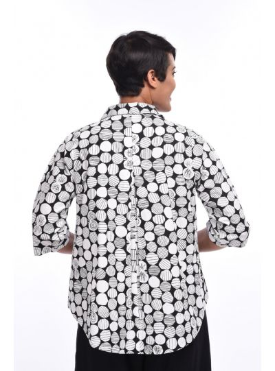 Tulip Black Marbles Printed High Low Blouse SDC334