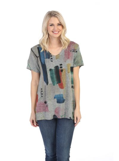 Jess & Jane Plus Size Heather Grey Dreaming Slinky Top SK3-1480X