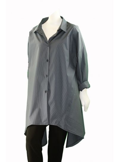 NRK By Anarkh Blue Striped High Low Button Front Blouse SN1713